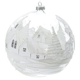 Pallina Natale bianca paesaggio neve vetro soffiato 200 mm s2