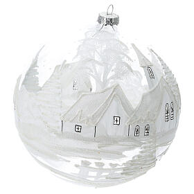 Pallina Natale bianca paesaggio neve vetro soffiato 200 mm s3