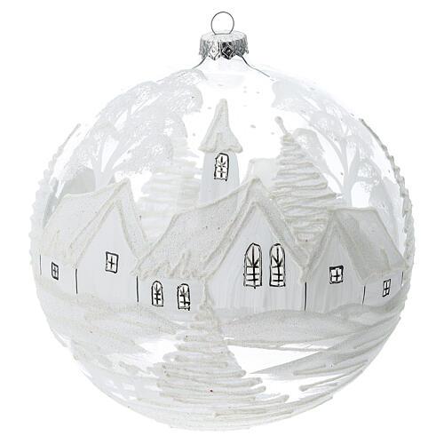 Pallina Natale bianca paesaggio neve vetro soffiato 200 mm 1
