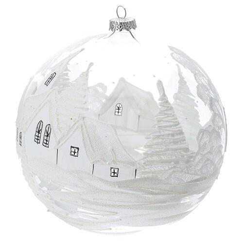 Pallina Natale bianca paesaggio neve vetro soffiato 200 mm 2