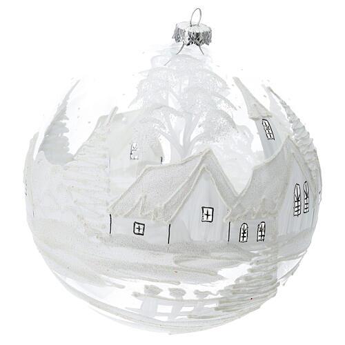 Pallina Natale bianca paesaggio neve vetro soffiato 200 mm 3
