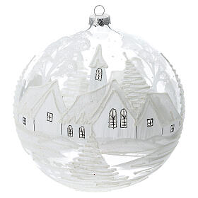 Christmas ball ornament white snowy village blown glass 200 mm s1
