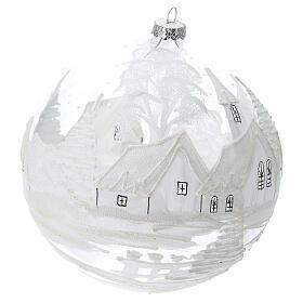 Christmas ball ornament white snowy village blown glass 200 mm s3