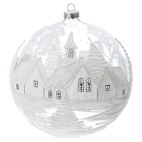 Christmas ball ornament white snowy village blown glass 200 mm 1