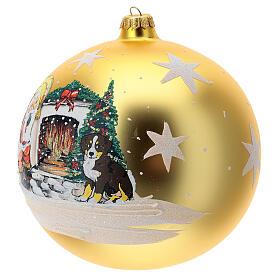 Bola árvore de Natal Pai Natal junto ao fogo vidro soprado 200 mm s2