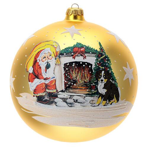 Bola árvore de Natal Pai Natal junto ao fogo vidro soprado 200 mm 1