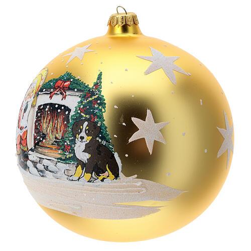 Bola árvore de Natal Pai Natal junto ao fogo vidro soprado 200 mm 2