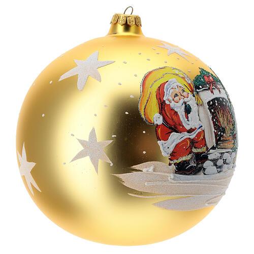 Bola árvore de Natal Pai Natal junto ao fogo vidro soprado 200 mm 3