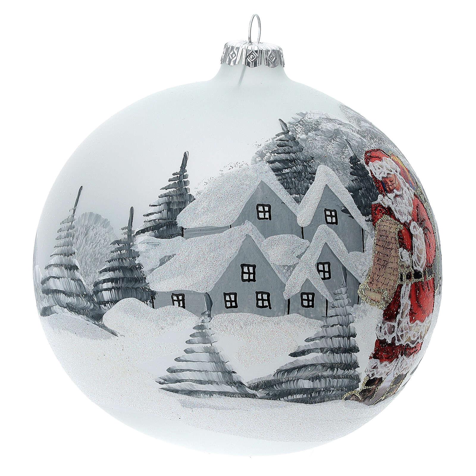 Christmas tree ball Santa Claus snow village blown glass 150 mm 4