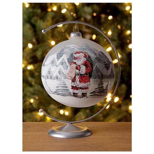 Christmas tree ball Santa Claus snow village blown glass 150 mm 2
