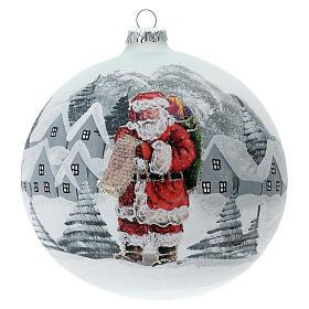 Christmas ball ornament Santa Claus winter village blown glass 150 mm s1