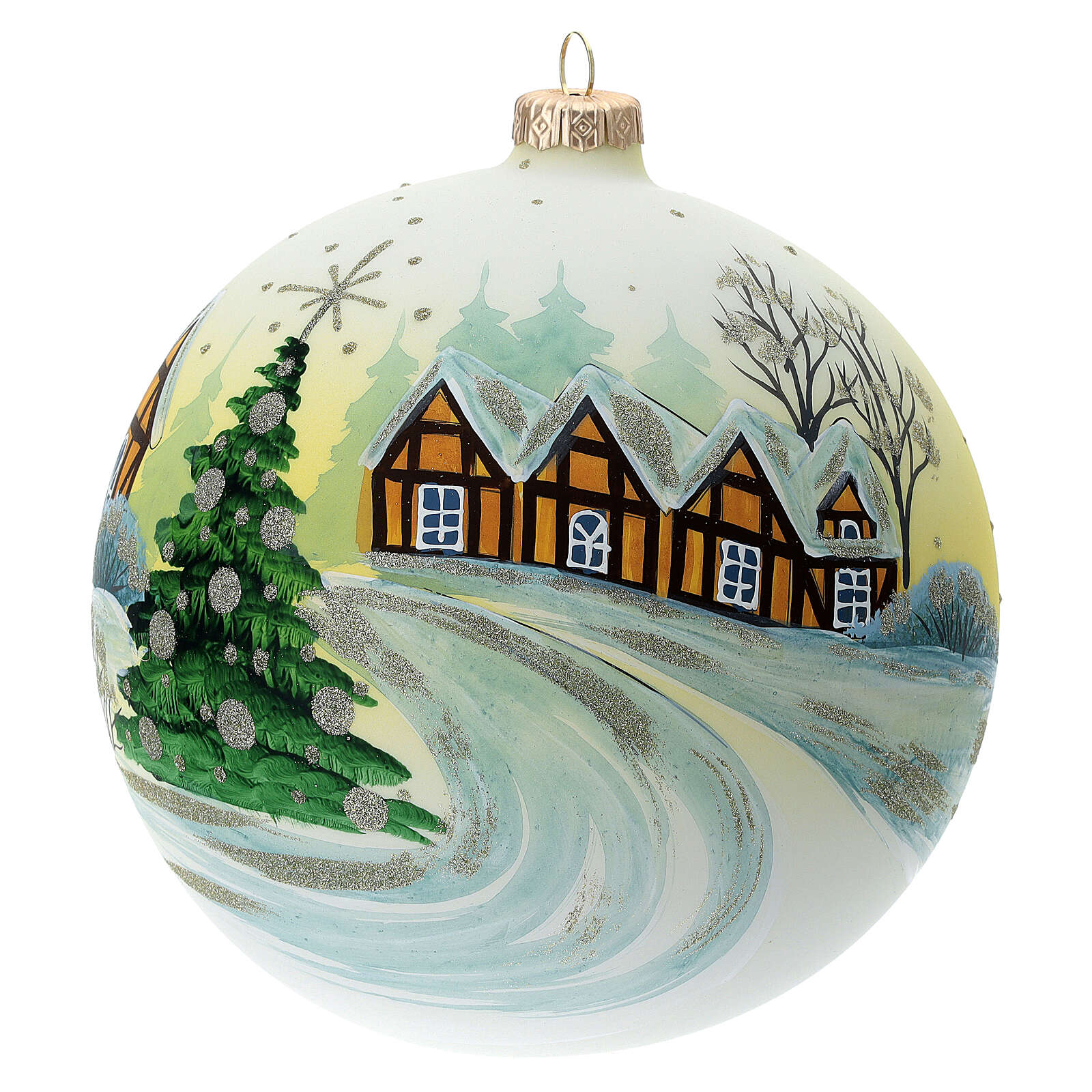 Bola árvore de Natal Pai Natal aldeia nevada céu amarelo vidro soprado 150 mm 4