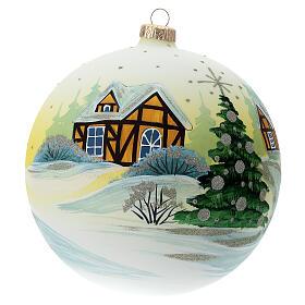 Bola árvore de Natal Pai Natal aldeia nevada céu amarelo vidro soprado 150 mm s4