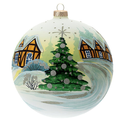 Bola árvore de Natal Pai Natal aldeia nevada céu amarelo vidro soprado 150 mm 1