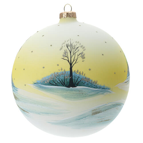 Bola árvore de Natal Pai Natal aldeia nevada céu amarelo vidro soprado 150 mm 5