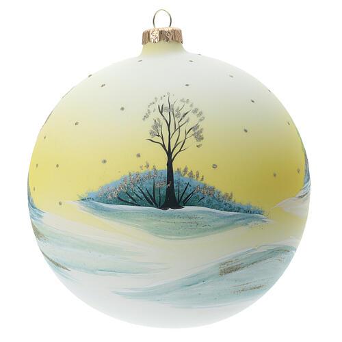 Christmas ball 150 mm blown glass snowy village yellow 4