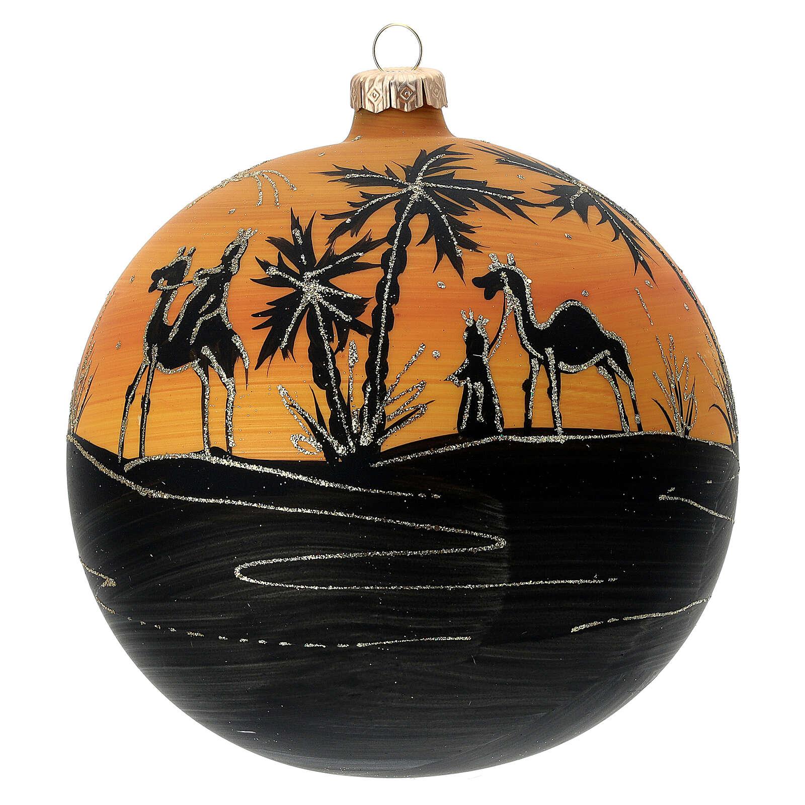 Pallina Natale cammelli tramonto vetro soffiato 150 mm 4