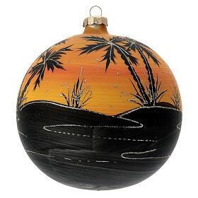Pallina Natale cammelli tramonto vetro soffiato 150 mm s4