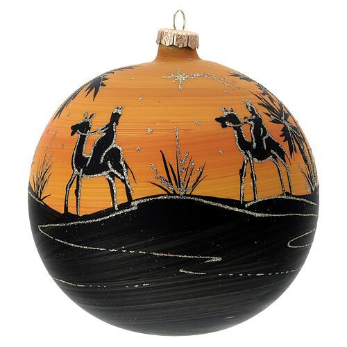 Pallina Natale cammelli tramonto vetro soffiato 150 mm 1
