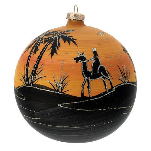 Pallina Natale cammelli tramonto vetro soffiato 150 mm 3