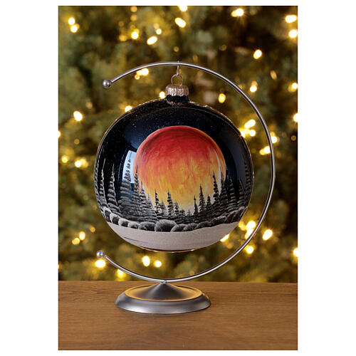 Christmas tree ball black moon red blown glass 150 mm 2