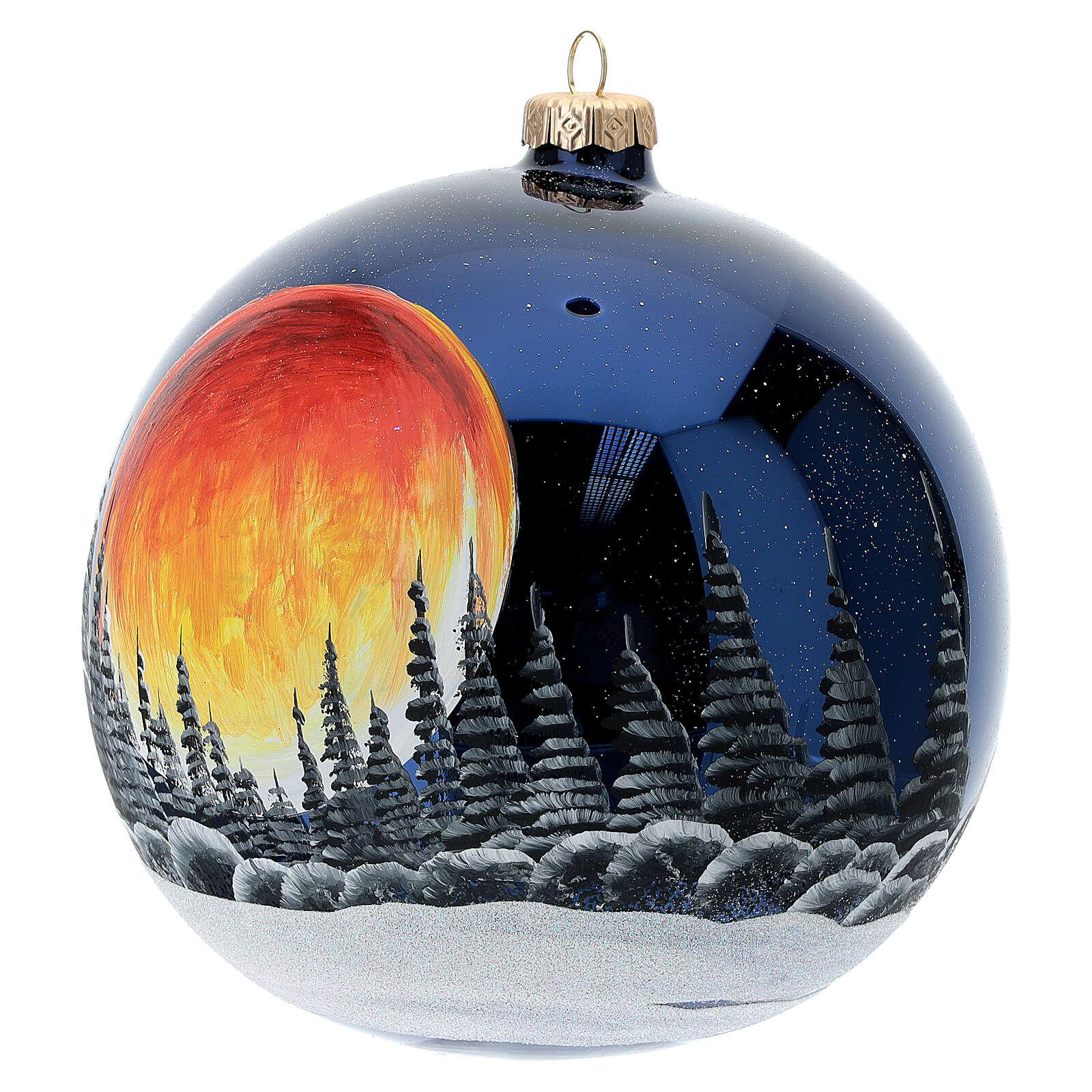 Bola árvore de Natal céu preto com lua cheia laranja vidro soprado 150 mm 4