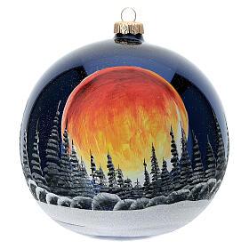 Bola árvore de Natal céu preto com lua cheia laranja vidro soprado 150 mm s1