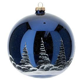 Bola árvore de Natal céu preto com lua cheia laranja vidro soprado 150 mm s4