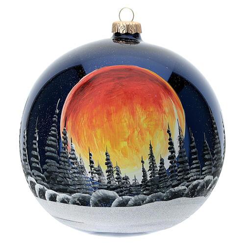 Bola árvore de Natal céu preto com lua cheia laranja vidro soprado 150 mm 1