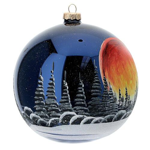 Bola árvore de Natal céu preto com lua cheia laranja vidro soprado 150 mm 3