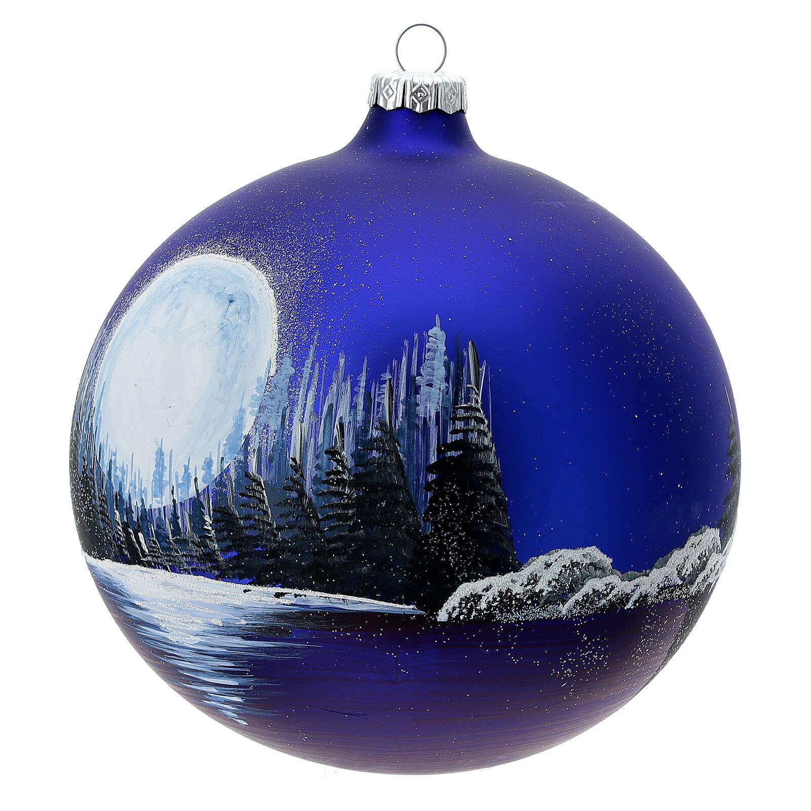 Boule Noël pleine lune lac verre soufflé 150 mm 4