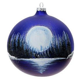 Boule Noël pleine lune lac verre soufflé 150 mm s1