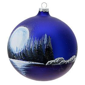 Boule Noël pleine lune lac verre soufflé 150 mm s2