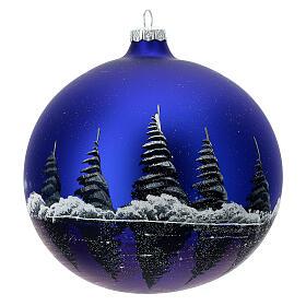 Boule Noël pleine lune lac verre soufflé 150 mm s4