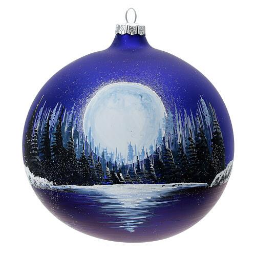 Boule Noël pleine lune lac verre soufflé 150 mm 1