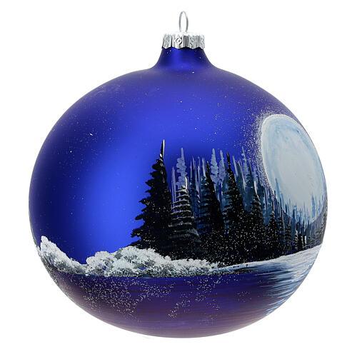 Boule Noël pleine lune lac verre soufflé 150 mm 3