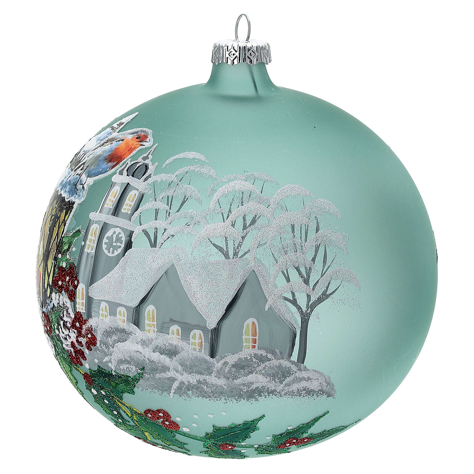 Christmas lantern holly blown glass 150 mm 4