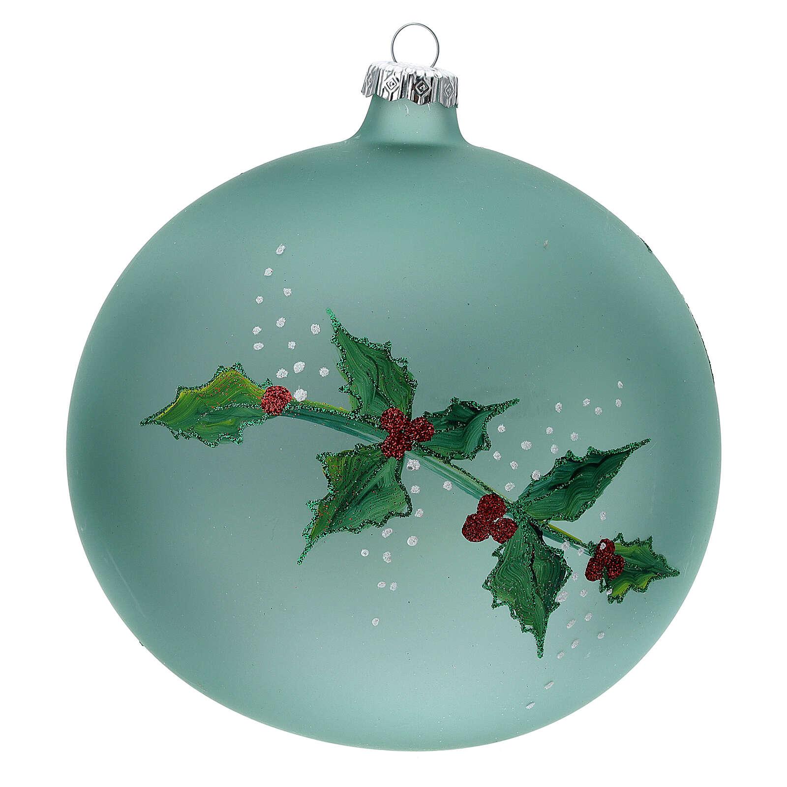 Boule Noël lanterne houx verre soufflé 150 mm 4