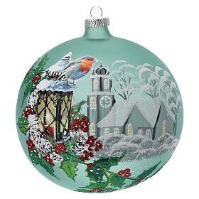 Pallina Natale lanterna agrifoglio vetro soffiato 150 mm s1