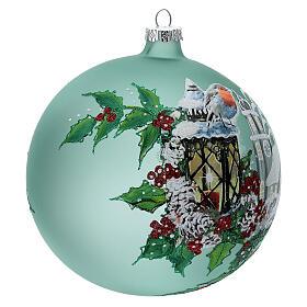 Pallina Natale lanterna agrifoglio vetro soffiato 150 mm s4