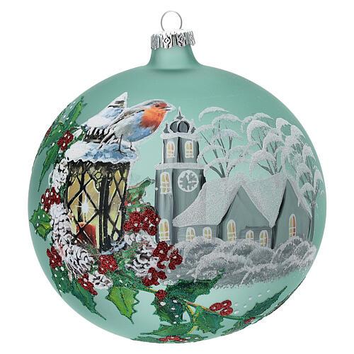 Pallina Natale lanterna agrifoglio vetro soffiato 150 mm 1