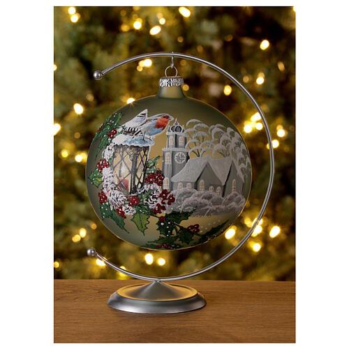 Pallina Natale lanterna agrifoglio vetro soffiato 150 mm 2