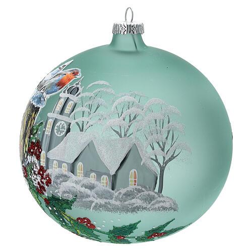 Pallina Natale lanterna agrifoglio vetro soffiato 150 mm 3