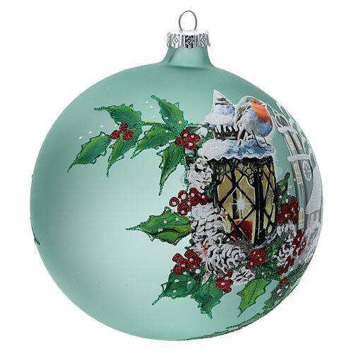 Pallina Natale lanterna agrifoglio vetro soffiato 150 mm 4