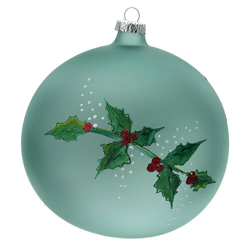 Pallina Natale lanterna agrifoglio vetro soffiato 150 mm 5