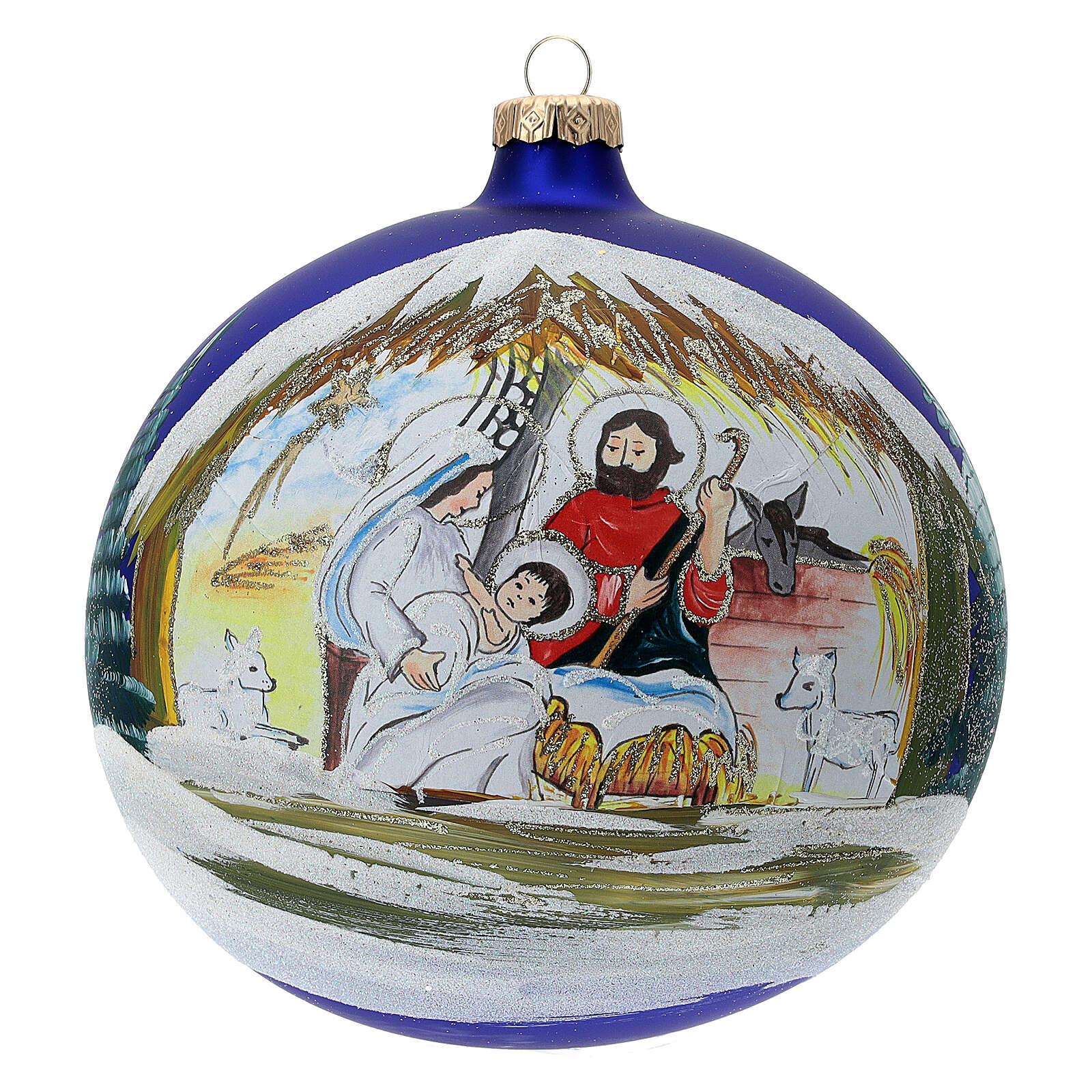 Christmas tree ball Nativity hut blown glass 150 mm 4