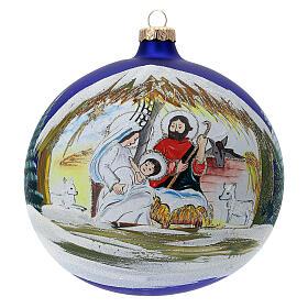 Christmas tree ball Nativity hut blown glass 150 mm s1