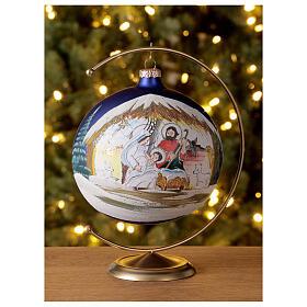 Christmas tree ball Nativity hut blown glass 150 mm s2