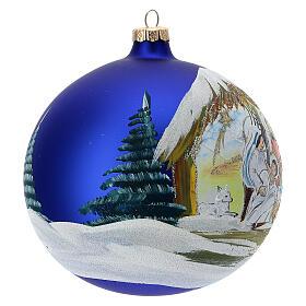 Christmas tree ball Nativity hut blown glass 150 mm s4