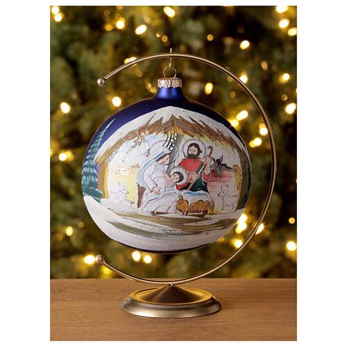 Christmas tree ball Nativity hut blown glass 150 mm 2